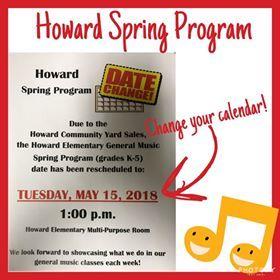 Howard Spring Program Moved to May 15
