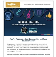 Best Communities for Music Education Award
